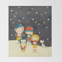Christmas Carols Singers Throw Blanket