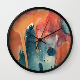 Pour Some Sugar on Me: a colorful mixed media abstract in pinks blues orange and purple Wall Clock