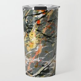 Jackson Pollock Interpretation Acrylics On Canvas Splash Drip Action Painting Travel Mug