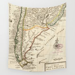 Vintage Map of Chile and Argentina (1732) Wall Tapestry