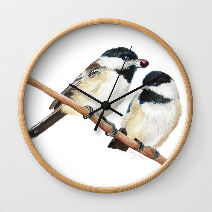 Black Capped Chickadees Wall Clock