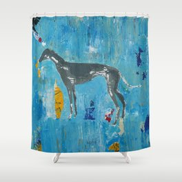 Greyhound Dog Abstract Painting Shower Curtain