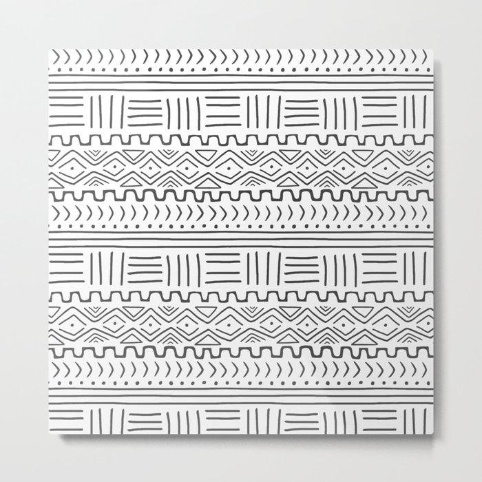 Mud Cloth on White Metal Print