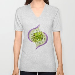Paths of Color [green & purple] Unisex V-Neck