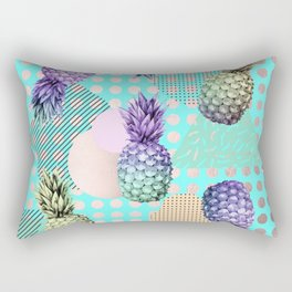 Pineapple Summer Rainbow Rose Gold Rectangular Pillow