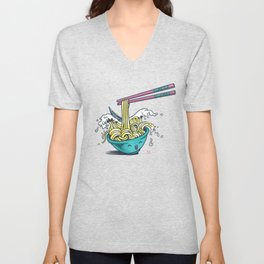 The Great Wave of Noodles with chopstick Unisex V-Neck