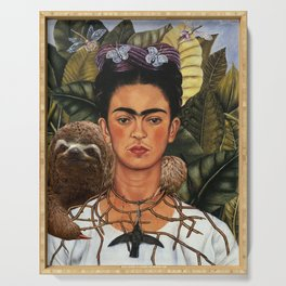 Frida Kahlo's Self Portrait with Sloth Serving Tray