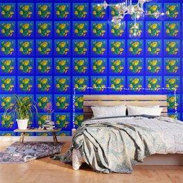 YELLOW BUTTERFLIES, ROSES, & BLUE OPTICAL ART Wallpaper