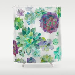 minimalist watercolor succulent arrangement Shower Curtain