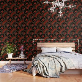 buffalo gathering Red Wallpaper