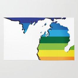 Michigan LGBT Rainbow Flag Gay Pride Rug