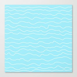 Turquoise with White Squiggly Lines Canvas Print