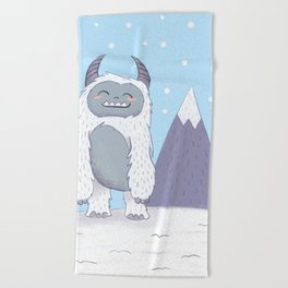 Yeti in the Mountains - Blue Beach Towel