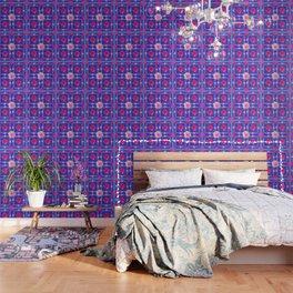 BLUE  GEOMETRIC ART CERISE & PINK FUCHSIA ROSES Wallpaper