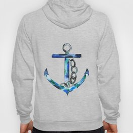 blue green anchor watercolor Hoody