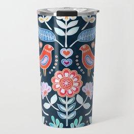 Happy Folk Summer Floral on Navy Travel Mug