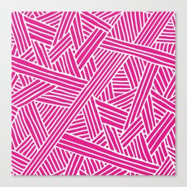 Abstract pink & white Lines and Triangles Pattern - Mix and Match with Simplicity of Life Canvas Print