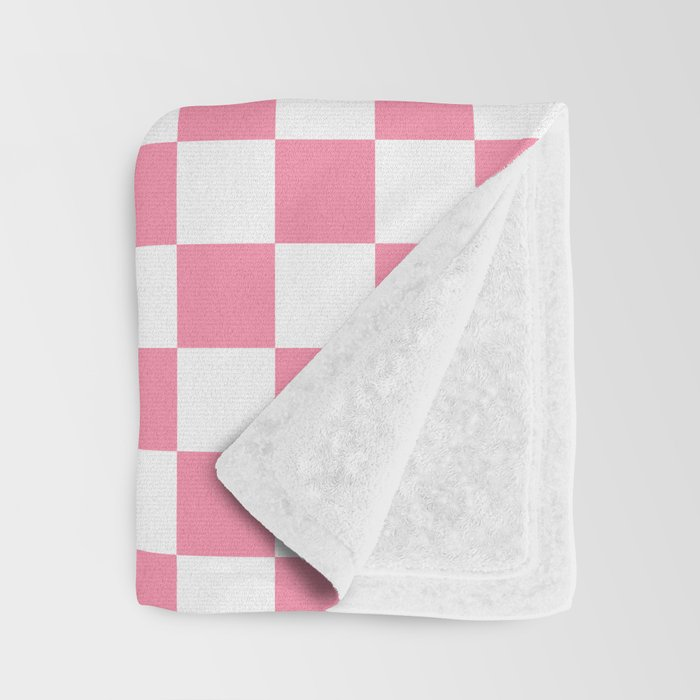 Small Checkered - White and Flamingo Pink Throw Blanket