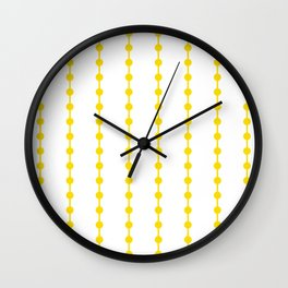 Geometric Droplets Pattern Linked - Summer Sunshine Yellow on White Wall Clock