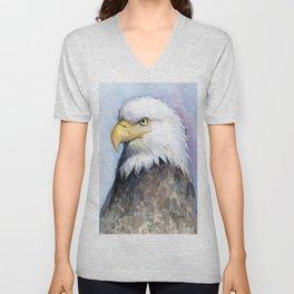 Bald Eagle Watercolor Bird Wildlife Animals Unisex V-Neck