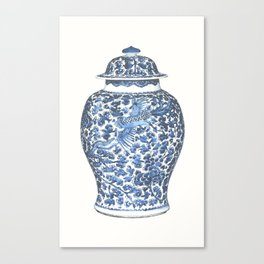 Blue & White Chinoiserie Porcelain Ginger Jar with Flying Phoenix  Canvas Print