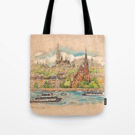 Castle and churches on riverside with boats Tote Bag