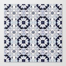 Portuguese Tiles Azulejos Blue and White Pattern Canvas Print