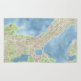 City Map Madison Wisconsin watercolor  Rug