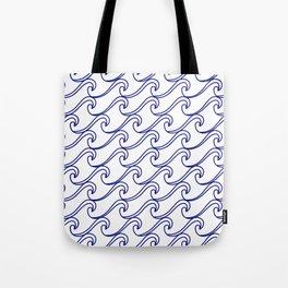 Rough Sea Pattern - blue on white Tote Bag