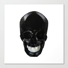 Skull Black Low Poly Canvas Print