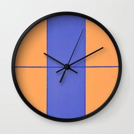 August - Orange and Blue Wall Clock