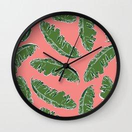 Nouveau Banana Leaf in Lox Wall Clock