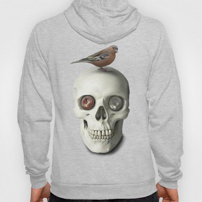 Skull & bird, watercolor Hoody