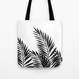 Palm Leaves Black Tote Bag