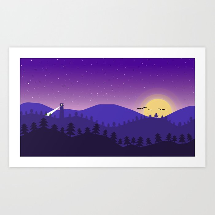 Purple Sky by Palshu Art Print