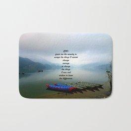 Serenity Prayer With Phewa Lake Panoramic View Bath Mat