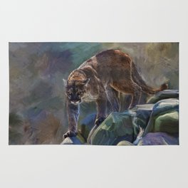 The Mountain King - Cougar Wildlife Art Rug