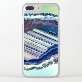 Blue purple geode Clear iPhone Case