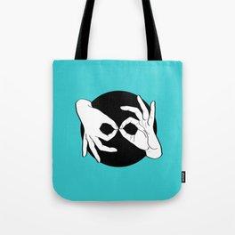 Sign Language (ASL) Interpreter – White on Black 11 Tote Bag