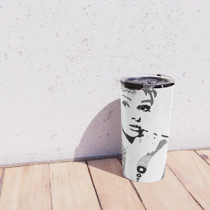 Audrey Hepburn - black and white Travel Mug
