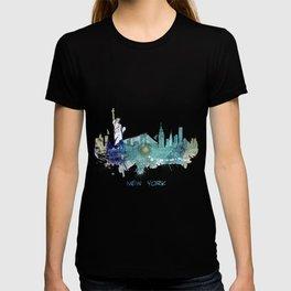 New York City Skyline blue T-shirt