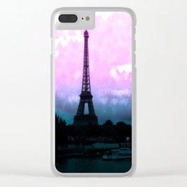 Paris Eiffel Tower : Lavender Teal Clear iPhone Case