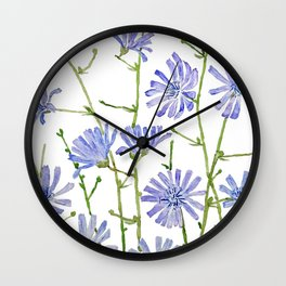 blue chicory watercolor Wall Clock