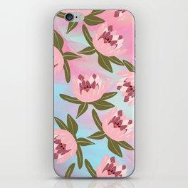 Pink teal watercolor brushstrokes water lilies floral iPhone Skin