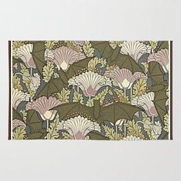 Burgundy Trimmed Art  Nouveau Bats & Poppy Patterns Rug