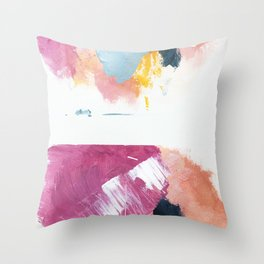 Cotton Candy: a bright, colorful abstract in pinks, blues, yellow, and white Throw Pillow