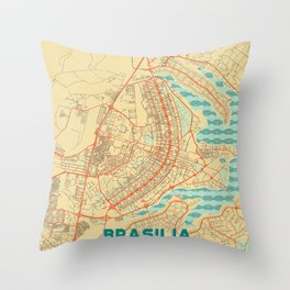 Brasilia Map Retro Throw Pillow