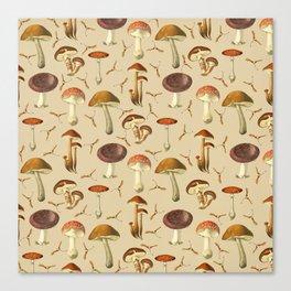 Wild Forest Mushroom Pattern Canvas Print