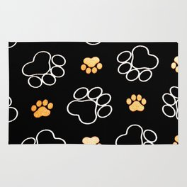 Dog Puppy Paw Prints Gifts Black and Gold Rug
