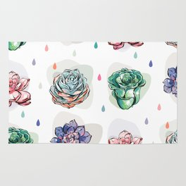 Succulent pattern with drops Rug